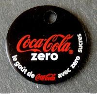 Jeton De Caddie Métal - COCA COLA ZERO (métal Noirci) - Double Face - Trolley Token/Shopping Trolley Chip