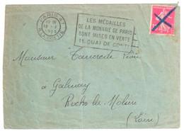 PARIS 47 R La Boétie Ob Meca Médaille Monnaie Conti 30c Semeuse Yv 191 NON Oblitéré Par Flamme PLI Ob 1925 CRAYON Bleu - Covers & Documents