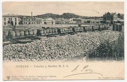 CPA - HUELVA - Estation Y Muelles M.Z.A. - Huelva