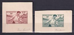 1940 - SIGNATURE DU GRAVEUR PIERRE MUNIER Sur 2 EPREUVES DECOUPEES - YVERT N° 467 SECOURS NATIONAL - Prove D'artista