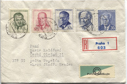 Tschechoslowakei 5-Präsidentenbrief Gottwald Zapotocky Novotny Svoboda Husak R-Brief 23.4.70 - Covers & Documents