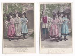 Rare Série 5 CPA Colorisées Guerre 1914-1918, Alsace, Militaires Français Et Allemand, A S 539 - War 1914-18