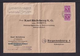 """1945 - Aufkleber """"Ich Bestätige..."""" Auf Brief Mit 2x 12 Pf. AM-Post Ab Gunzenhausen - American/British Zone"""