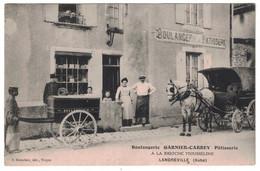 LANDREVILLE (AUBE 10) - VUE ANIMÉE SUR LA DEVANTURE DE LA BOULANGERIE GARNIER-CARREY PATISSERIE BRIOCHE MOUSSELINE - Other Municipalities