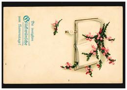 Prägekarte Glückwünsche Zum Namenstage Buch Mit Blütenzweigen, CÖLN 25.7.1917 - Andere
