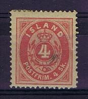 Iceland: 1873 Mi Nr 3A MH/*, Mit Falz, Avec Charnière  14*13,5 Perfo Fold/spot - Neufs