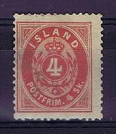 Iceland: 1873 Mi Nr 3A MH/*, Mit Falz, Avec Charnière  14*13,5 Perfo - Neufs