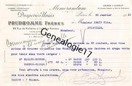 75 23428 PARIS SEINE 1930 Draperie PRUDHOMME FRERES Rue Richelieu ET RAMEAU Usine A ELBEUF SEINE MARITIME 76 - Vestiario & Tessile