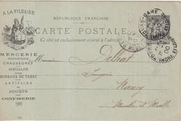 """FRANCE : ENTIER POSTAL . 10 Cts . TYPE SAGE . CP . OBL . REPIQUAGE . """" A LA FILEUSE TOURS """" . 1900 . - Cartoline Postali E Su Commissione Privata TSC (ante 1995)"""