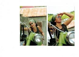 LOT 2 - Carte Panini - Femme  Artiste Chanteuse JENIFER - N°44-45 - Moto Verte - - Artistes