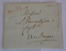 Belgique Jemmapes 1808 – Marque Rouge 86 TOURNAY – VANOUTRYVE Bruges – COUPEZ Tournai - 1794-1814 (French Period)