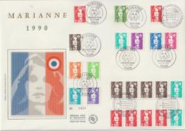 France FDC Grand Format 1990 Marianne De Briat 2614-2626 Et Plus - 1990-1999