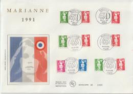 France FDC Grand Format 1991 Marianne De Briat 2713-2717 Et Plus - 1990-1999