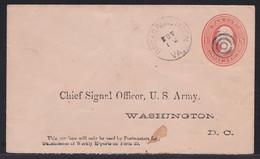 Chief Signal Officer, Franklin War Dept Postal Stationery Letter Cover Travelled 1881 Broadrunstation > Washington - ...-1900