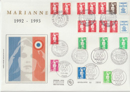 France FDC Grand Format 1992-93 Marianne De Briat Divers Dont 2824 - 1990-1999
