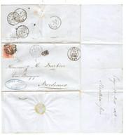 REF4571/ TP 8 3 Marges S/LSC Renkin Frères Fabricant D'Armes Oblitération 73 C.Liège 30/8/1858 > Bordeaux C.Ambulants - Postmarks - Lines: Perceptions