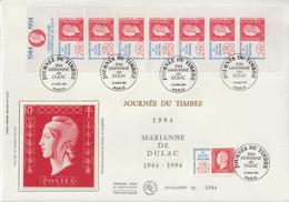 France FDC Grand Format 1994 Journée Du Timbre 2863 Et BC2864A - 1990-1999
