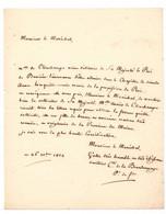 Lettre Du Comte De La Bourdonnaye 1824, Adressée Au Marechal De France En Faveur De Mlle Anais De Clinchamps - Manuscripten