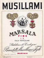 ETICHETTA VINO MARSALA FINE I.P. MUSILLAMI - - USATA- ITALIA- - Non Classificati