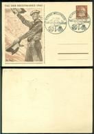 Deutsches Reich UKRAINE 1942 Ganzsache Postkarte P4/01 Tag Der Briefmarke Gestempelt Nicht Gelaufen - Postwaardestukken