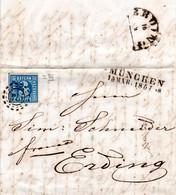 Bayern 1857, Breitrandige 3 Kr. Pl.3 Auf Brief M. OMR 325 V. München N. Erding - Bavaria