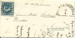 Bayern 1853, MR 96 Frontenhausen Auf Kl. Brief M. 3 Kr. N. Lamdshut. (Sem + 150) - Bavaria