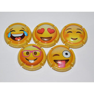 N°1097 - SERIE DE 5 CAPSULES DE CHAMPAGNE - GENERIQUE (Emojis) - Colecciones