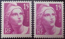 R1591/709 - 1945/1947 - TYPE MARIANNE DE GANDON - N°727 + 727a NEUFS** - Ongebruikt