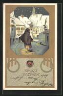 AK Deutscher Schulverein 1880, Nachtwächter In Der Eingeschneiten Stadt - War 1914-18
