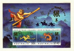 Australien / Christmas Island  2004  Mi.Nr. Sheet 18(517 / 518) , Year Of The Monkey - Postfrisch / MNH / (**) - Christmaseiland