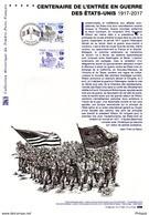 """✅ 2017 (Prix Poste 6 €) """" 100 ANS DE L'ENTREE EN GUERRE DES USA WW1 """" Sur Document Philat Officiel N°YT 5156 DPO - WW1 (I Guerra Mundial)"""