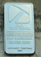 BARRE PIOLET PAN AMERICA FINE SILVER 999 / 1oz / 1 ONCE TROY 31g ENVIRON NEUVE - Sin Clasificación