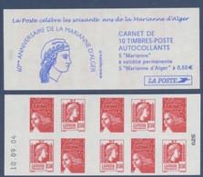 N° 1512 Carnet 60e Anniversaire De La Marianne D'Alger Auto Adhésif   Faciale LP X 5 Et 0,50€ X 5 - Freimarke