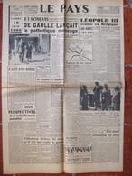 Journal Le Pays N°43 (17/18 Juin 1945) De Gaulle - Leopold III - Incidents De Chambéry - Ravitaillement - Ribbentrop - Unclassified