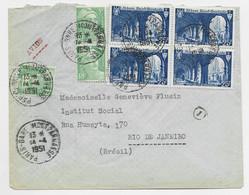 N° 842 BLOC DE 4 +5FR GANDON X3 LETTRE AVION PARIS GARE MONTPARNASSE 14.4.1951 POUR BRESIL - 1921-1960: Moderne