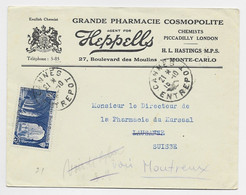 N° 842 CANNES ENTREPOT 15.10.1949 LETTRE ENTETE GRANDE PHARMACIE COSMOPOLITE MONTE CARLO MONACO - 1921-1960: Moderne