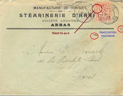 PERFORÉ D A = DAIRE Et E. ANSELIN Sur MOUCHON 15c YT 125 - MANUFACTURE DE BOUGIES ... ARRAS PAS DE CALAIS DAGUIN 30-3-03 - Perforadas