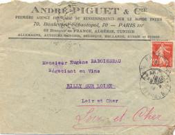 PERFORÉ A P C ANDRÉ PIGUET & Cie Sur SEMEUSE 10 C. TàD PARIS-116 R. REAUMUR Du 8-4-14 - Perforadas