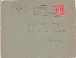 Devant De Lettre 50c Semeuse Lignée Oblitération Tampon Local VISITEZ LA CORSE Cachet Facteur-receveur CANARI 1932 - 1921-1960: Modern Period