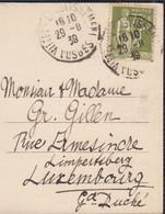 Type PAIX 75c Olive SEUL Sur CPA De 88 VITTEL La Pergola Du 29 8 1939  Pour Le LUXEMBOURG - 1932-39 Peace