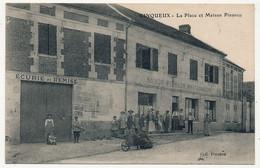 CPA - CINQUEUX (Oise) - La Place Et Maison Pinsson (Restaurant Avec Son écurie Et Sa Remise, Divers Personnages) - Sonstige Gemeinden