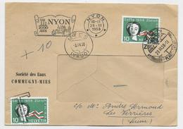 HELVETIA SUISSE 10C NYON 29.III.1958 ENVELOPPE A FENETRE COVER + 10C GRIFFE T DE TAXE - Brieven En Documenten