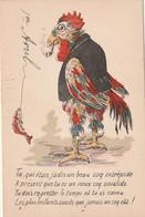 ****  *** Coq Humanisé Toi Qui était Jadis  PREMIER AVRIL  Par Illustrateur   12cmx8cm - Sans Pub Ni Dos Cpa  TTB - 1er Avril - Poisson D'avril
