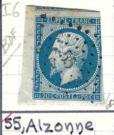FRANCE Classique: Le Y&T 14B BDF, Obl. PC 55 (Alzonne, Ind.6), AUDE, Filet Droit Touché - 1853-1860 Napoléon III