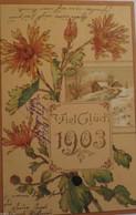 """""""Neujahr, Jahreszahl,  Blumen, Winterlandschaft"""" 1902, Golddruck ♥  - Neujahr"""