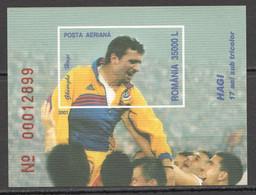 RM310 IMPERF 2001 ROMANIA FOOTBALL LEGEND GHEORGHE HAGI SPORT BL317 MNH - Otros