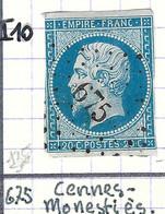 FRANCE Classique: Le Y&T 14A, Obl. PC 675 (Cennes-Monestiès, Ind.10), AUDE, Filets Verticaux Touchés - 1853-1860 Napoleon III