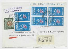 ITALIA 15 LIRE BLOC DE 4+30 LIRE LETTERA REC GENOVA 1964 POUR ASS FOOTBALL STADE LOUIS II MONACO - 1961-70: Marcophilie