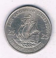 25 CENTS 2000  EAST CARIBBEAN STATES ANTILLEN /5856/ - West Indies