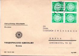 """(FC-7) DDR Dienstpost, """"Volkspolizei-Kreisamt Gera"""" MeF Mi 4x 18xI TSt 2.11.1956 GERA - Official"""